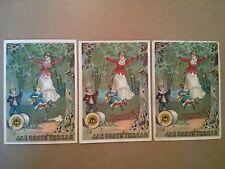 "#ORIGINAL 1800's VICTORIAN Trade Card Lot 3 J&P COATS Mother & KIds 3 x 4.25"""