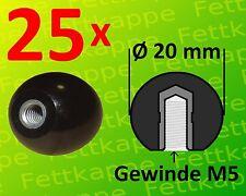 Stahlgewinde Hebelknopf Schaltknauf Kugelkopf 20x Kugelknopf M5 Ø20mm schwarz m