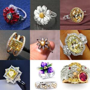 Elegant Women 925 Silver Citrine Flower Jewelry White Sapphire Wedding Ring Gift