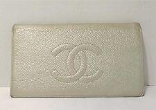 Chanel Silver Caviar Leather Wallet