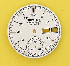 NEW SEIKO DIAL WHITE HELMET FOR 6139 7100, 6139 7101 CHRONOGRAPH WATCH NR-011