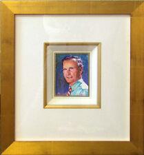 "Lin Chong ""George H. W. Bush""Original Acrylic Painting on Paper w/ Custom frame"