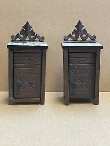 Antique Dollhouse Miniature Set of 2 Carved Wooden Cabinets