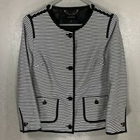 Talbots Womens Jacket/Coat Black & White Striped Size 8