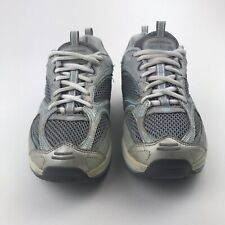 Sketchers Shape Ups Womens Size 7 Leather Shoes Silver Gray White Blue SN 12320