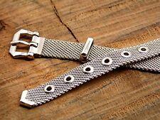 Ladies NOS Forstner Vintage Watch Band White Gold Filled Mesh Belt Style Buckle