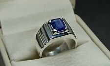 Natural Emerald Cut Ceylon Blue Sapphire Sterling Silver 925 Handmade Mens Ring