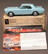 AMT 1964 FORD MUSTANG lt blue 1/25 dealer promotional model BOX & brochure p1