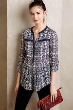 New Women's Anthropologie Maeve Abella Pintuck Blouse Blue White Size L 12