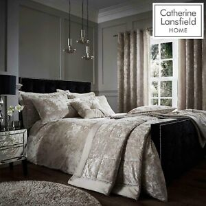 Catherine Lansfield,Crushed Velvet Natural, Duvet Cover Sets,Curtains,Throw.