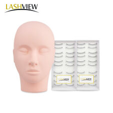 Mannequin Head x1 with Practice False Eyelashesx2 for Training Eyelash Extension