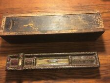 Vintage OLD Machinist Double Bubble Level & Wooden Box Collectible Tool