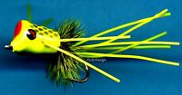 Chartreuse with Black Fish Scales Bass/Bream Popper, Choose Quantity & Hook Size