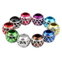 30x Perles en vrac pour gros trous d'entretoise en aluminium pour bracelet