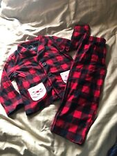 Carters Toddler Plaid Flannel Santa Claus Christmas Holiday Pjs 3T