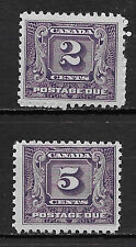 CANADA , 1930/32 , POSTAGE DUE , J7 & J9 STAMPS , PERF , VLH/MNH