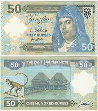 Zanzibar 50 Rupees 2018 UNC SPECIMEN Test Note Banknote - Queen Freddie Mercury