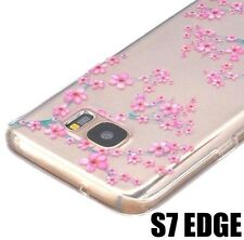 For Samsung Galaxy S7 Edge - TPU Rubber Case Cover Pink Clear Cherry Blossoms