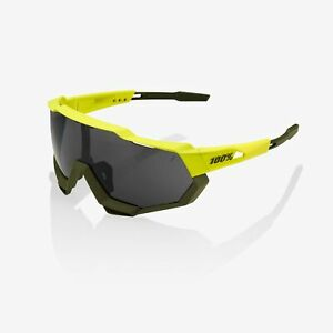 100% SPEEDTRAP Sunglasses Soft Tact Banana Black Mirror Lens + Clear Lens
