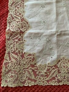 Stunning French Antique Victorian TABLECLOTH ALENCON LACE, Hand embroidered