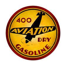 Vintage Style Retro Aviation Gasoline 14 in. x 14 in. Round Steel Metal Sign
