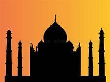CULTURAL LANDSCAPE TAJ MAHAL AGRA INDIA SILHOUETTE POSTER PRINT BB18A