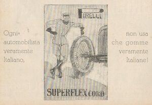 Z1452 Tires Pirelli Superflex Cord - Advertising D'Epoca - 1928 Old Advert