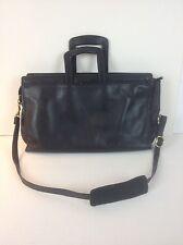 Vtg Leather Bag Attache Black Portfolio Distressed Wear Best Mid Century