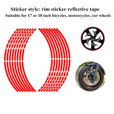 Motorcycle Car Red Wheel Steel Stripe Wheel Applique Sticker Tape For 17/18 INCH