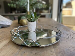 Decorative Mirrored Tray Tealight Candle Holder Plate Vanity Perfume Tray silver