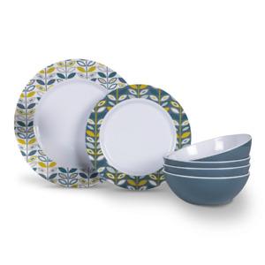 Flora Melamine Tableware Dinner Set Kampa 12 Piece 2021