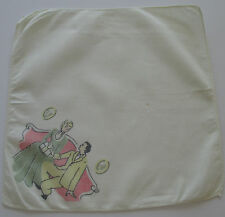 Vintage White Batiste Hankie Victorian Courting Couple Sofa Pictures 1950s