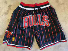 Chicago Bulls Men's Just Don Swingman Stitched Black Pinstripe Shorts