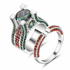 Lady's/Men's 10kt White gold Filled Ring Set Multi-Color CZ Rainbow Topaz Size 8