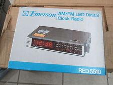 Vintage Antique Emerson AM FM LED Digital Alarm Clock Radio Red 5510 Red5510