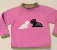 New LL Bean Pink Cotton Sweater Scottie Dog Pair Green Trim sz 4T