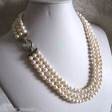 "20-22"" 6-8mm White 3row Freshwater Pearl Necklace Strand Necklace A"