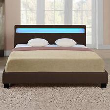 LED Polsterbett 180x200cm Dunkelbraun Kunst-Leder Bett Gestell Doppelbett