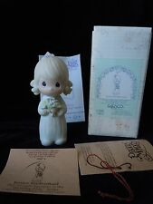 Precious Moments Junior Bridesmaid #E-2845 Flame 1983 MIBWT Girl with Flowers