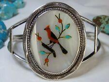 Vintage ZUNI Benson Boyde Multi-GEMSTONE STERLING Silver CARDINAL Bracelet Cuff