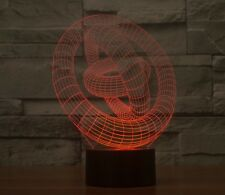 3D Lamp Ring In Ring  Optical Illusion Led Night Light 7 Colors Touch Switch