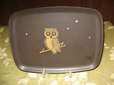 """Vintage Couroc Mid Century Modern Inlaid Owl Large Tray 12.5"""" by 9 1/2  Black"""