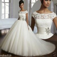White/Ivory A-Line Wedding dress Bridal Gown Custom Size 4-6-8-10-12-14-16 18+