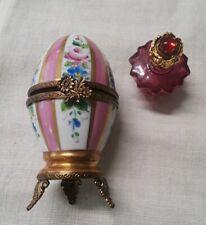 Limoges Peint Main Footed Egg Trinket Box Swarovski Perfume Bottle Pink Floral