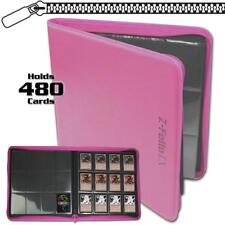 BCW PINK GAMING CARD Z-FOLIO ZIPPERED LX LEATHERETTE ALBUM WITH 12 POCKET PAGES
