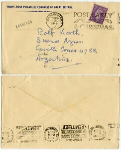 GB 1949 PHILATELIC CONGRESS PRINTED ENV MANCHESTER to ARGENTINA 3d SINGLE