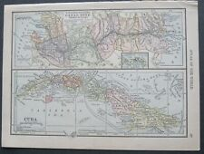 1909 Original Map:U.S.Canal Zone,Cuba & South America,Galapagos Is. (Scarce)
