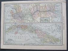 1909 Original Map:U.S.Canal Zone,Cuba & South America,Galapagos Is. (Scarce)