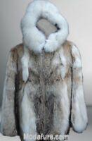 Men's New Coyote Fur Coat Jacket with HOOD & Fox
