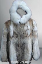 Men's New Coyote Fur Coat Jacket with HOOD & Fox  Sz S-M-L-XL-XXL MAN